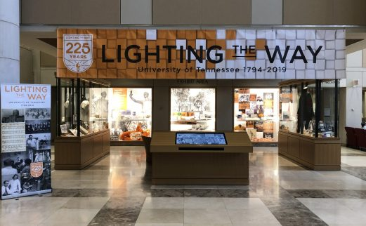 Exhibit featuring banner for 225th anniversary of UT