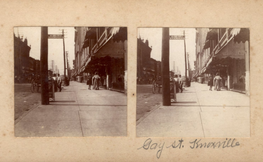 Stereograph of Gay Street in Knoxville