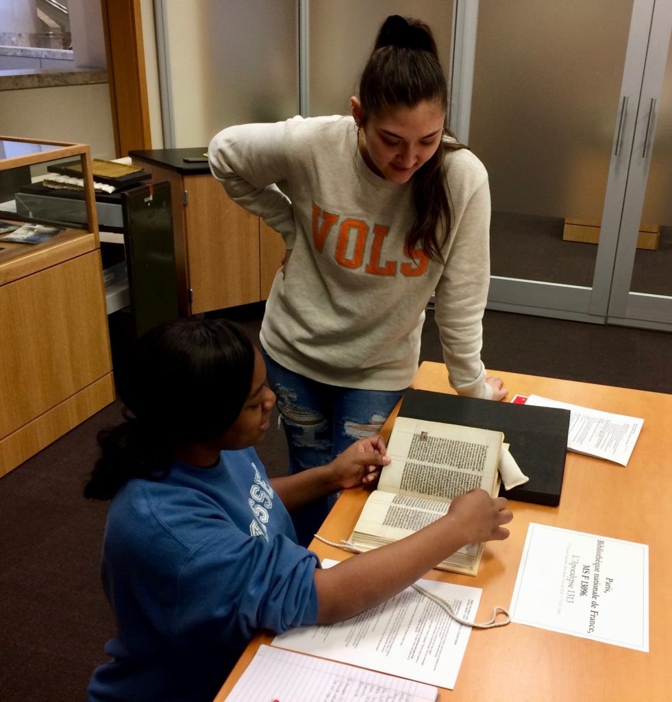 Students interact with Special Collections