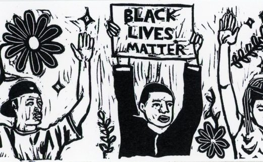 Three people with their hands up; one is holding a sign that says black lives matter