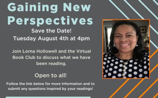 Gaining New Perspectives Talk Invite featuring photograph of Lorna Hollowell