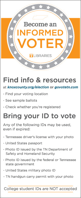 A bookmark that outlines voter information and resources was available to students