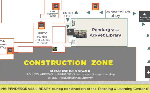 A map that outlines the construction entrance to Pendergrass Library