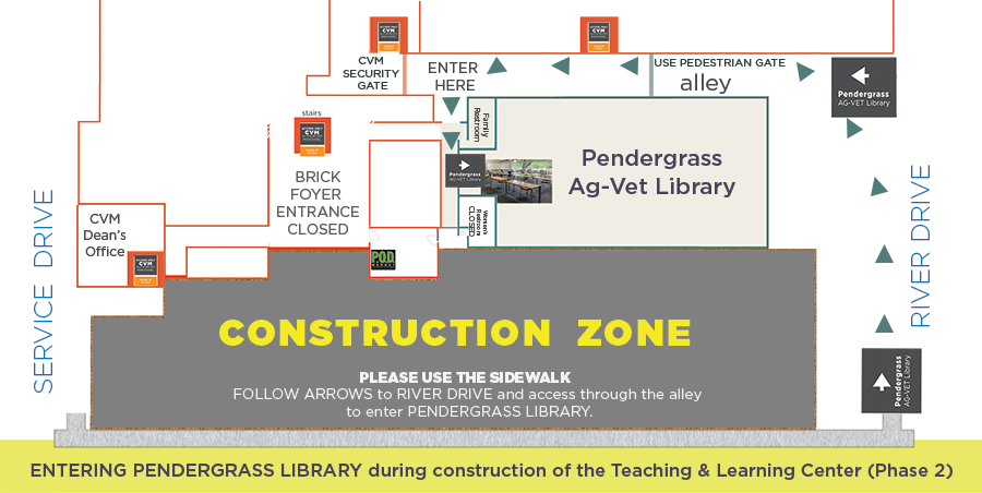 Map of new entrance to Pendergrass library