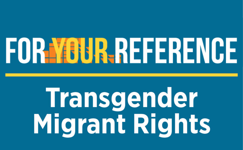 For Your Reference Logo Image with episode 3 topic: Transgender Migrant Rights