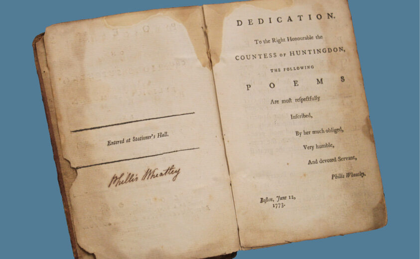 Pages of a page of Wheatley Poetry Book
