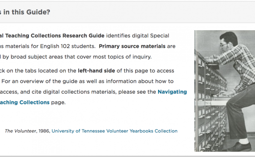 Photograph of Digital Teaching Collections featuring a person looking through materials