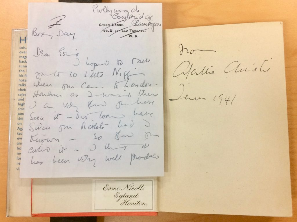 Photograph of personal correspondence to Christie's friend